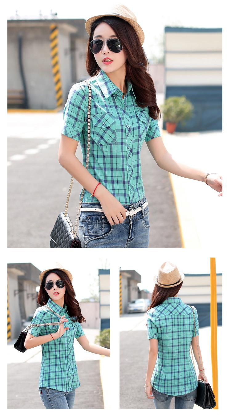 HTB1JlHAJFXXXXc6aXXXq6xXFXXXF - New 2017 Summer Style Plaid Print Short Sleeve Shirts Women