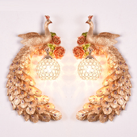 Hotel bedroom bedside crystal Wall lamp creative restaurant wall sconce peacock light aisle living room background wall lamp