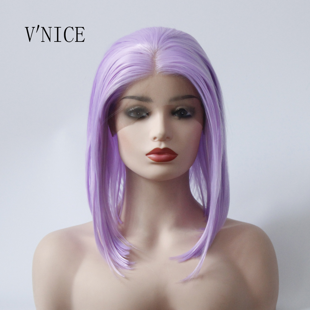 VNICE Purple Short BOB Middle Part Wig Hand Tied Hair Heat Resistant High Temperature Synthetic Lace Front Wig for Women