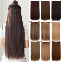 Cheap hair extension 24″ Long straight heat Resistant  Synthetic alibaba-express  5 clip in hair extensions mega hair