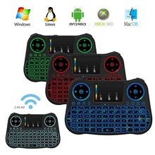 MT08 Rainbow backlit Mini Wireless Keyboard Touchpad 2.4GHz Air Mouse For Smart TV BOX Computer English Russian Spanish