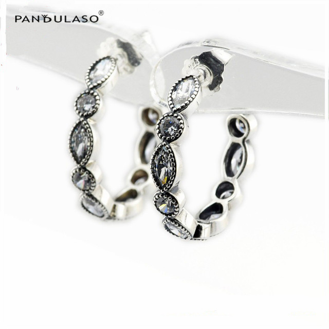 Alluring Brilliant Marquise Hoop Earrings 2016 New Original 925 Silver Earrings For Women Fashion Jewelry Autumn Style