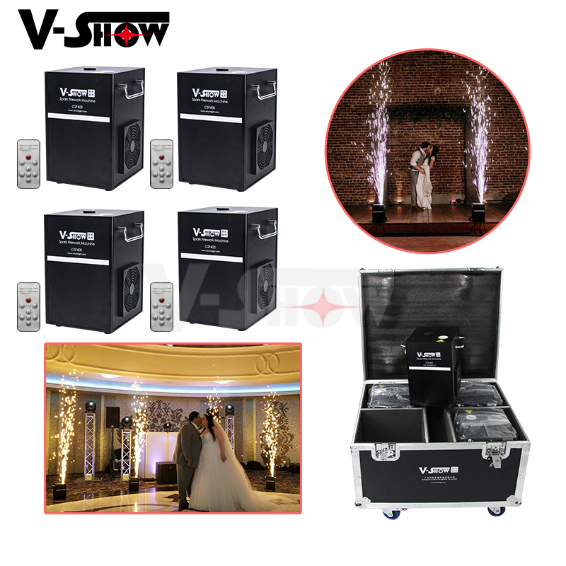 Commercial Lighting Stage Lighting Effect 4pcs With Flightcase And 10 Bags Powder 400w Cold Spark Firework Machine Dmx And Remote Control For Wedding Stage Effect