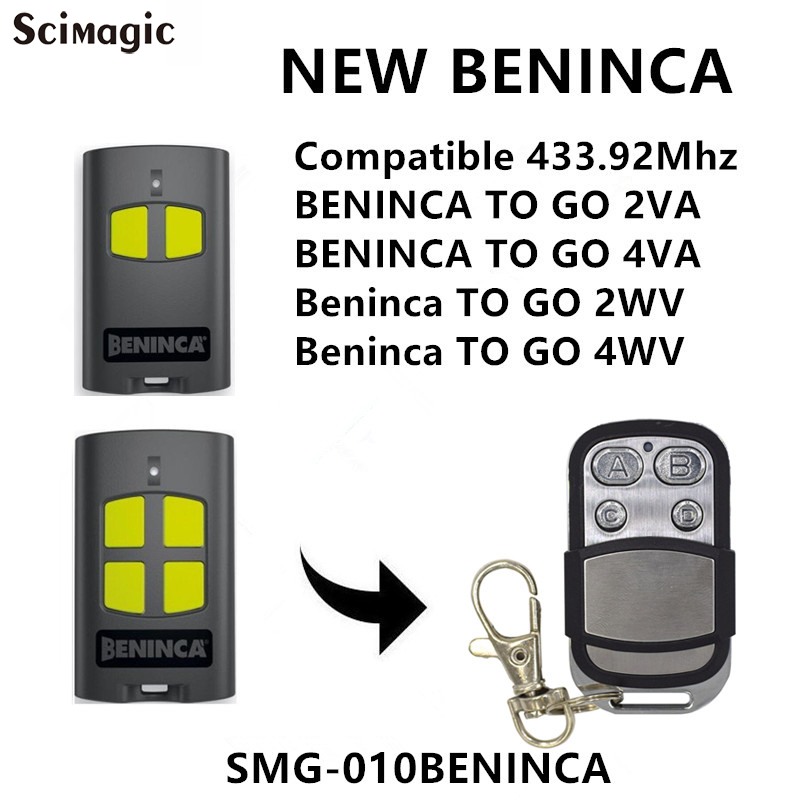 Beninca TO.GO2VA / TO.GO4VA / TO.GO2WV / TO.GO4WV 433mhz Remote Control Advanced Rolling Code Garage Command