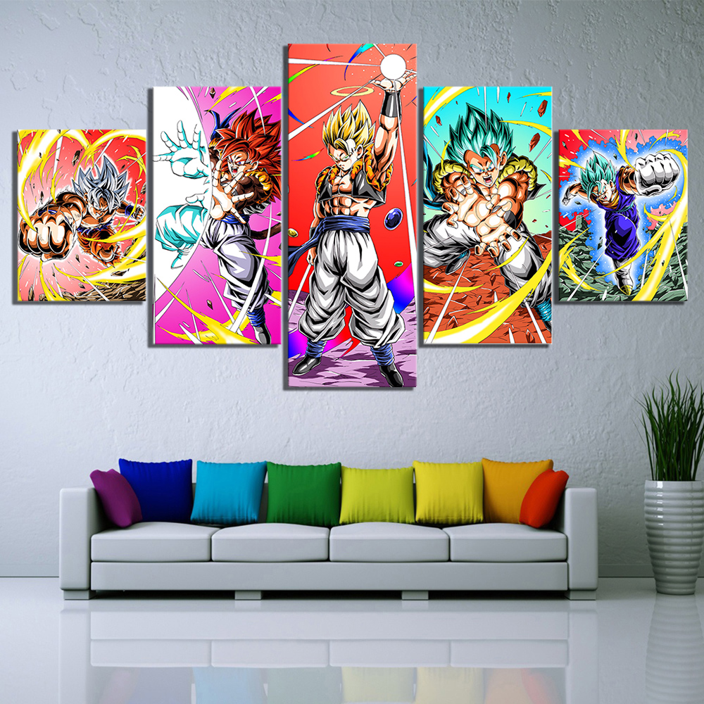 5 Piece Dragon Ball Super Broly Anime Poster Cartoon Movie Poster Pictures Canvas Painting for Children Room Wall Decor 3