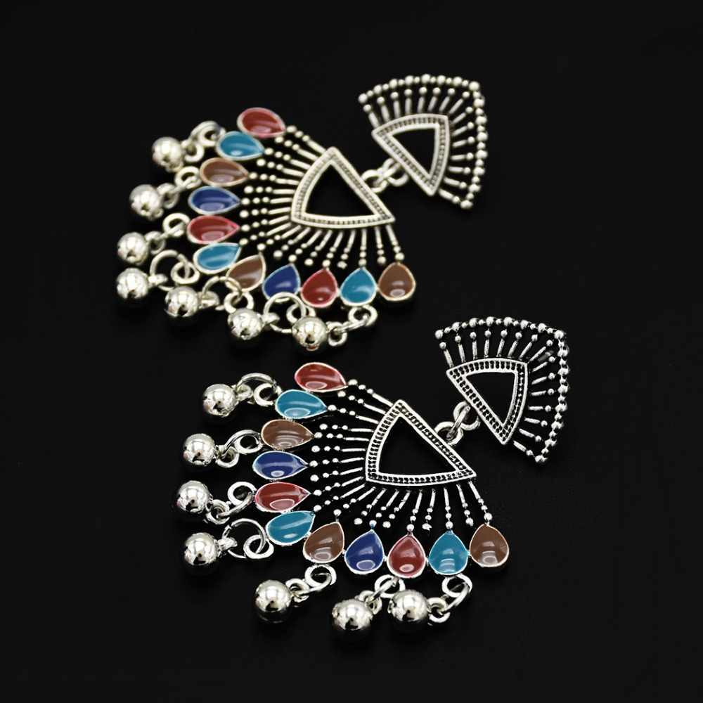 44711c265 ... Boho Vintage Silver Bells Fan Statement Earrings Pakistani Thailand  Festival India Jhumka Earrings Hippie Holloween Christmas