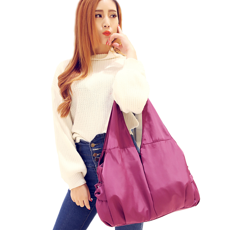 Women Handbag Casual Large Shoulder Bag Nylon Tote Famous Brand Purple Handbags Mummy Diaper Bags Waterproof bolsas Black aosbos women shoulder bags multifunctional waterproof nylon handbag lady casual portable black tote bag female designer handbags