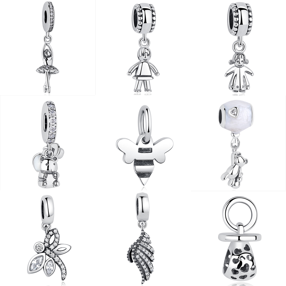 Original 100% 925 Sterling Silver Bead Charm Fit Pandora Bracelets Cute Boy Girl Bear Dragonfly Feather Charms Women Diy Jewelry