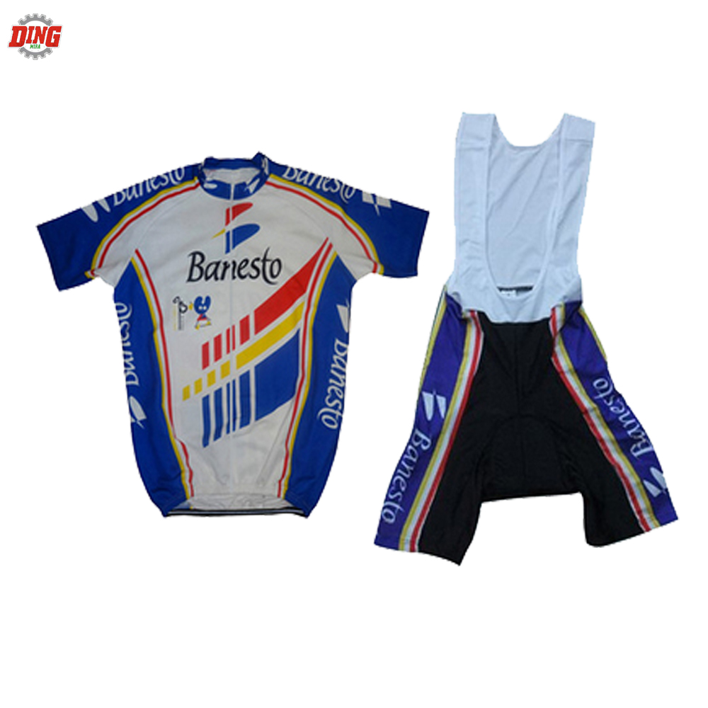 Men NEW cycling jersey set short sleeve blue/white clothing bike wear Retro classic pro team jersey set bib shorts 5D Gel Pad