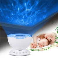 7 Colors LED Night Light Starry Sky Remote Control Ocean Wave Projector with Mini Music Novelty baby lamp night lamp