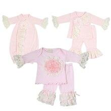 Мягкая кружевная одежда с объемным цветком для маленьких девочек, топы, футболка, длинные штаны, повязка на голову, Пижама