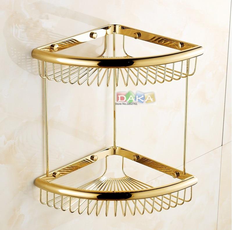 Di lusso oro finitura accessori bagno doccia shampoo e cosmetici scaffale basket holder/ottone materiale doppio disegno angolo ripiani