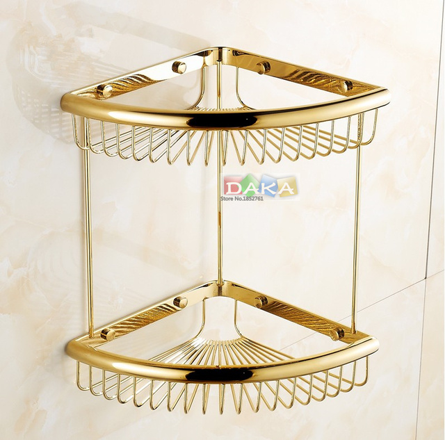 luxus gold bad accessoires dusche shampoo kosmetik regal. Black Bedroom Furniture Sets. Home Design Ideas