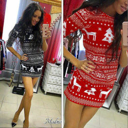 Women's Winter Knitted Christmas Dress Ladies Costume Jumper Sweater Dress 9