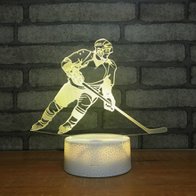 3D светодиодный хоккейный плеер настольная лампа USB визуальный светильник прикроватный ночной Светильник для детей подарки детский спальный светильник спортивный Декор