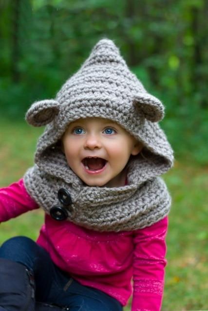 Baby Hooded Bear Cowl Animal Hat Hooded Scarf Crochet Hoodie