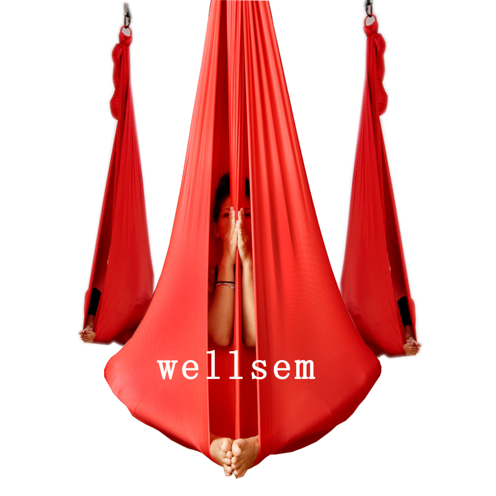 Yoga Flying Swing Anti-Gravity yoga hammock fabric Aerial Traction Device Yoga hammock Equipment for Pilates body shaping fitness yoga hammock yoga swing anti gravity aerial straps high strength fabric decompression hammock mix color with 6 grip hand