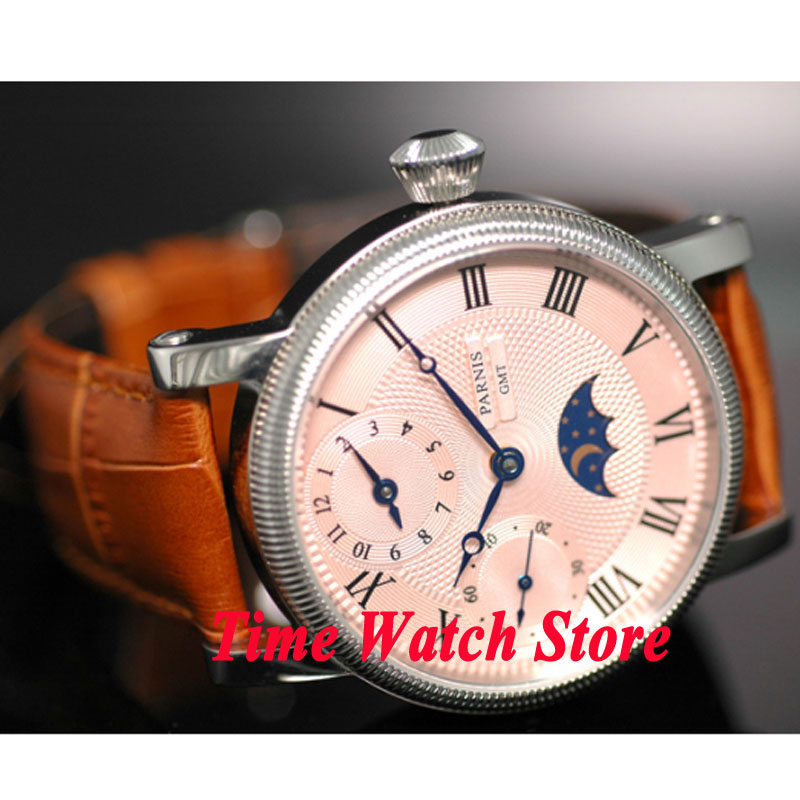 Parnis watch 42mm pink dial Roman numerals marks Moon Phase GMT Mechanical hand wind movement Men's watch 61 42mm parnis pink dial gmt moon phase hand winding movement mens watch pa061