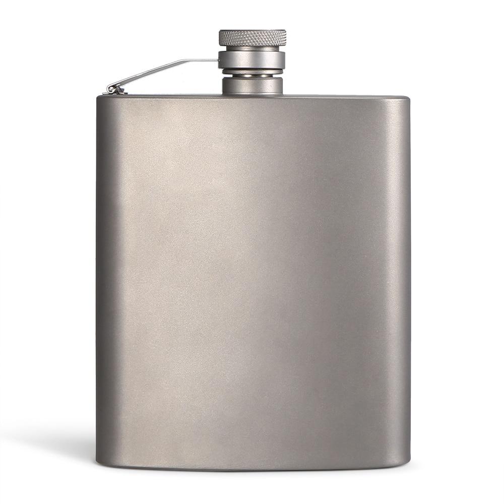 200ML Outdoor Titanium Flask Liquor Ultra Light Flat Hip Flask Outdoor Camping Picnic Hiking Flask