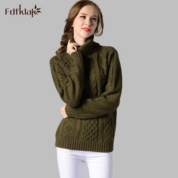 1983caffb € 19.2 50% de réduction 2017 Mode Femmes Col Roulé À Manches Longues Pull  Pull En Cachemire Dames Chandails Femmes Chandail Tricoté Épais Chaud ...