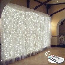 2/3/6メートルリモートledのカーテンの妖精ライト文字列クリスマスledパティオパーティー結婚式のウィンドウ装飾屋外ストリングライト新年