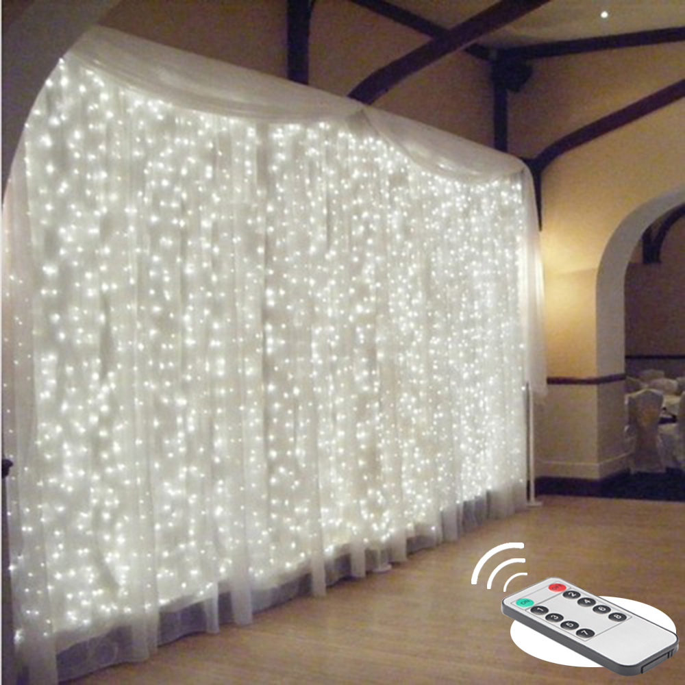 Cortina de luces LED remota de 2/3/6 m, guirnalda de luces navideñas led para fiesta en el patio, decoración de ventana de boda, guirnaldas de luces para exterior para año nuevo