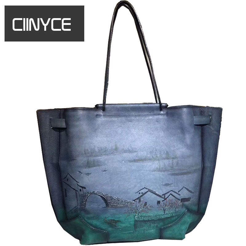 2018 New Unique Design Original Brand Paintings Genuine Cow Leather Women's Large Casual Totes Vintage Soft Cowhide Shoulder bag brand new original genuine switch bns303 12z