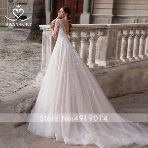 Image 4 - Vintage V Neck Wedding Dress 2020 Swanskirt Long Sleeve Appliques Backless A Line Illusion Princess Bride Vestido de noiva K150