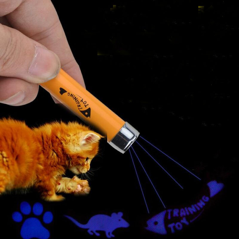 Creative and Funny Pet Cat Toys LED Laser Pointer Light Pen With Bright Animation Mouse Fish Paw Pattern Key Ring ZA1855