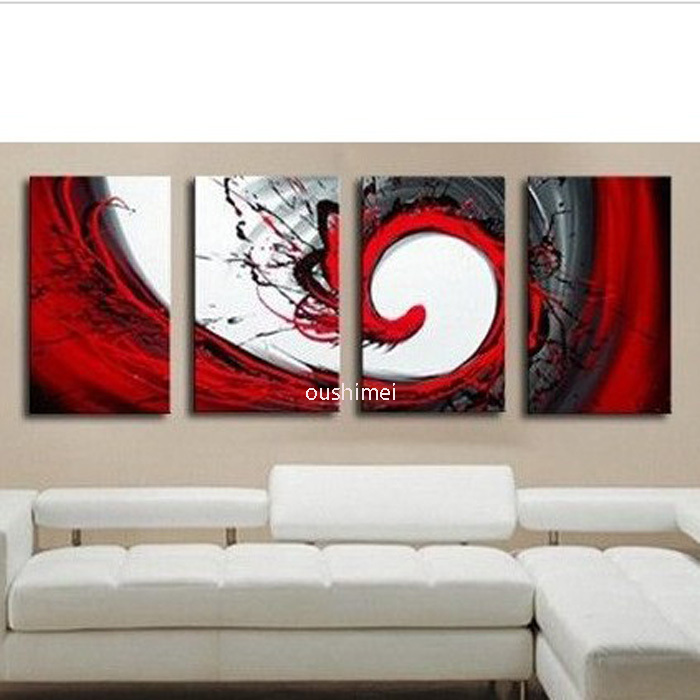 Handmade 4 Piece Black White Red Abstract Wall Art Oil