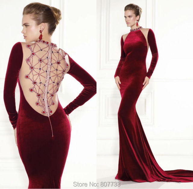 W061 New Design cut mermaid high neck beaded back long sleeve velvet  evening dresses wine color 52aa1cb5065b