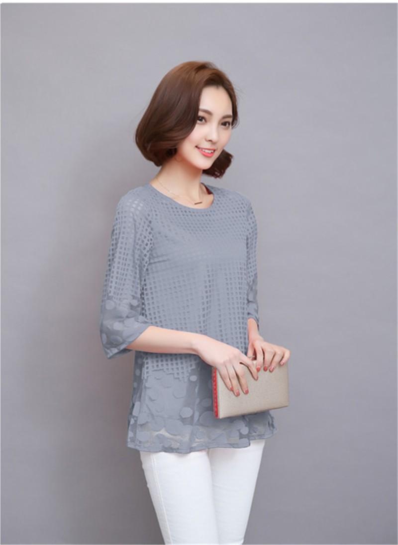 Plus Size 4XL 5XL 6XL  Luxury Lace O Neck  Women Blouse Shirt Noble Long Mesh sleeve Shirt Blouse Vintage tops Blusas Femininas (32)