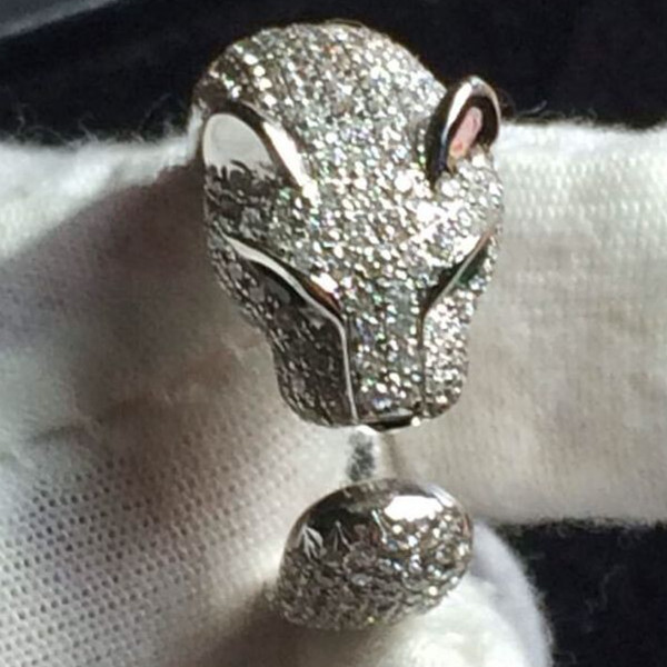 Aggressive leopard head design ring Synthetic Diamonds ring 925