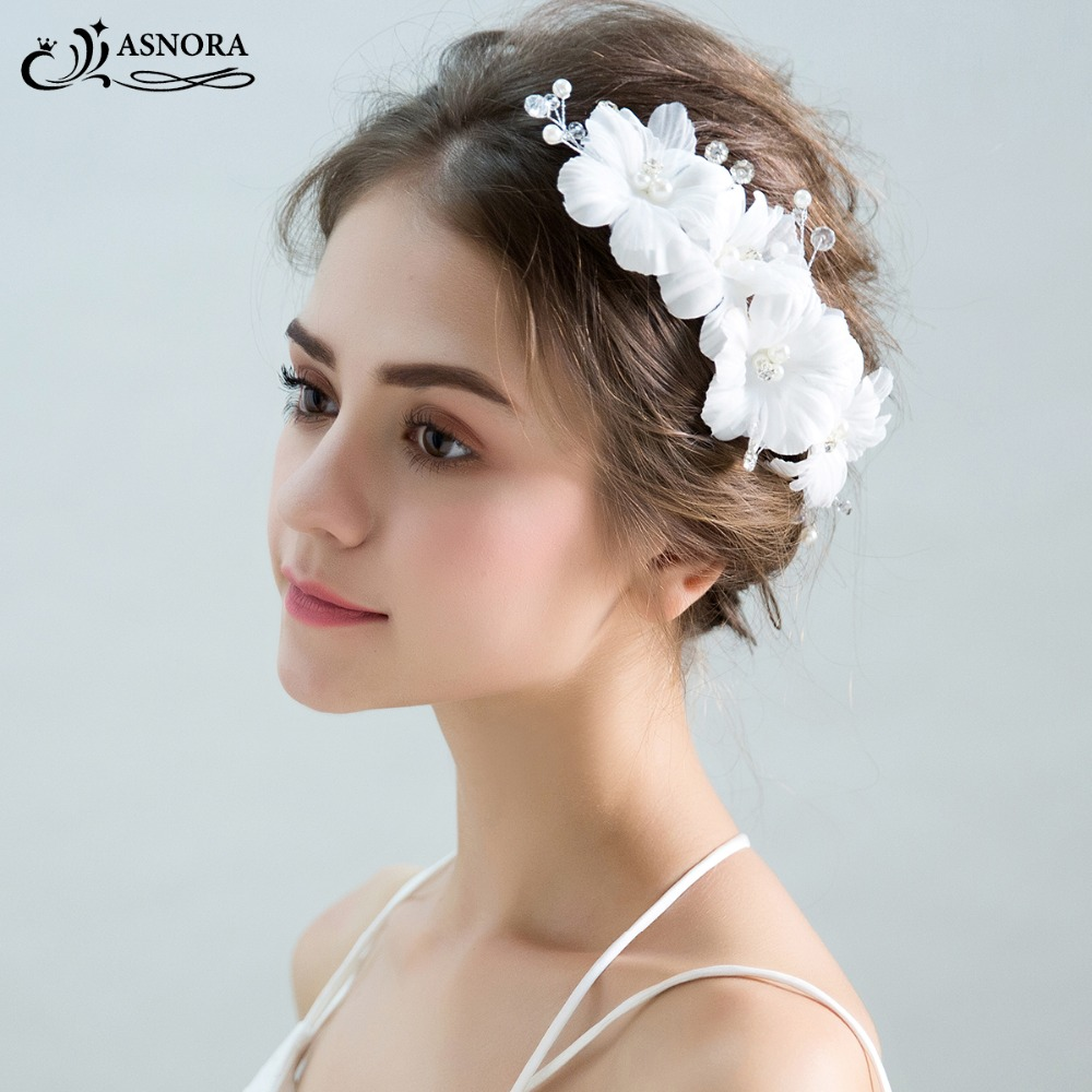 ASNORA Hairgrips Headbands Flower Wedding-Headpieces Bridal Elegant Girls' Women White