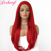 Lvcheryl Hand Tied New Trendy Long Red Natural Wave High Temperature Fiber Hair Wig Synthetic Lace Front Party Wigs for Women