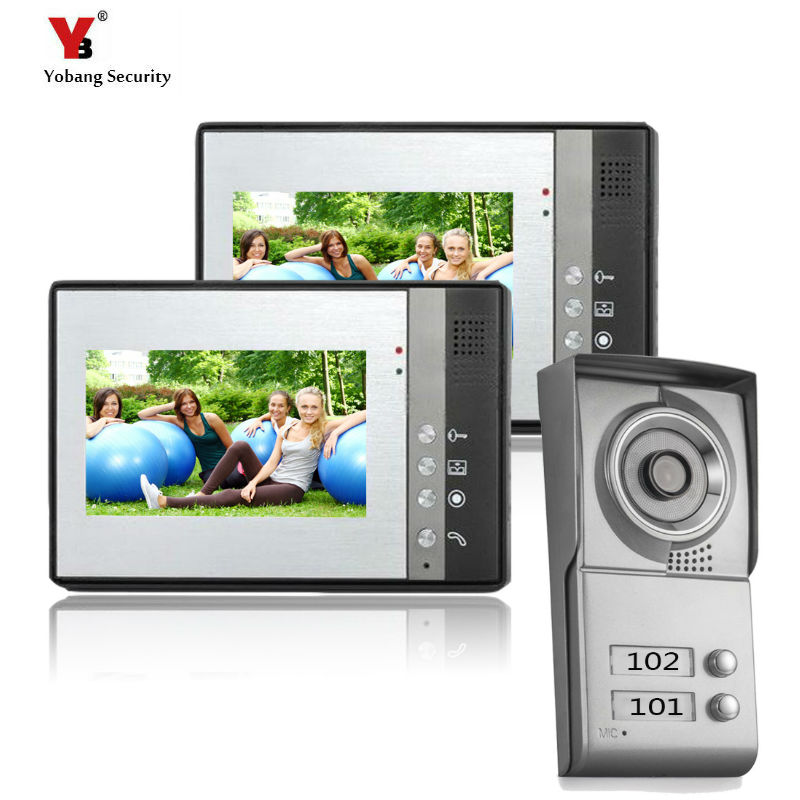 YoBang Security 7 Inch TFT Touch Screen Color LCD Video Door Phone Wired Video Intercom 2 Monitor Doorbell Intercom System