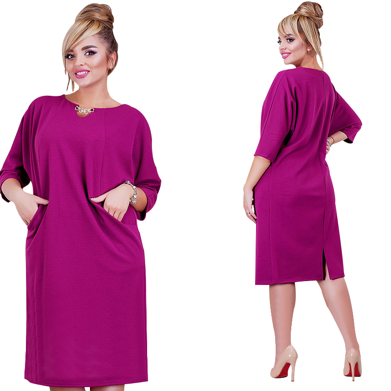 2018 New Arrival Women Dress 6XL Vestidos Solid Color Straight Casual Knee Lenght Three Quarter Sleeve Dress Oversized Plus Size