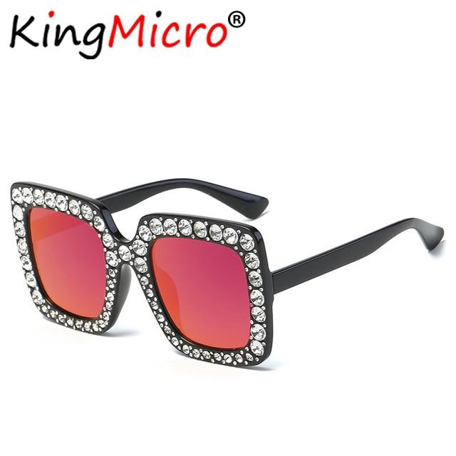 1baddb8d999 Diamond Oversized Square Sunglasses Women Vintage Large Frame Ladies Retro  Crystal Sun Glasses Big Bling Gemstone