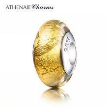 Athenaie Echt Murano Glas 925 Zilveren Kern Goudfolie Charm Bead Fit Europese Charms Armbanden Kleur Geel Kerst Sieraden