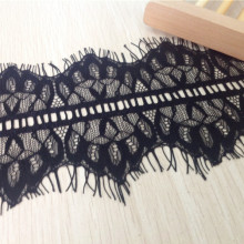High quality diy handmade clothes accessories eyelash lace decoration black and white  peacock tail--wide:10.5cm