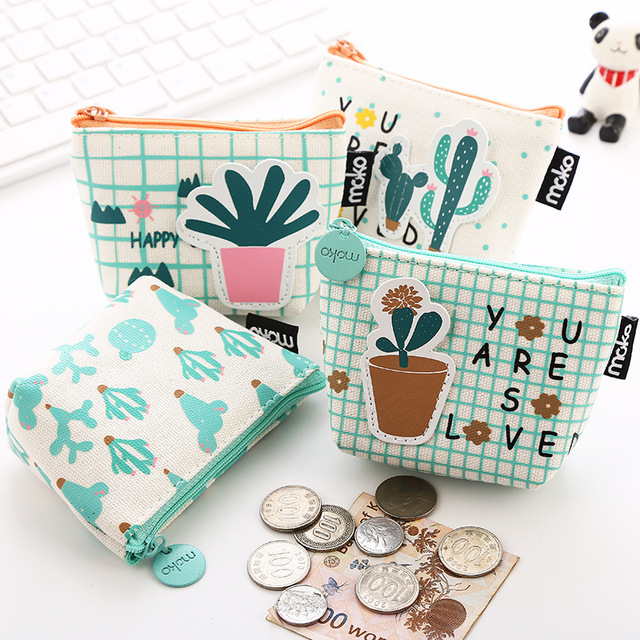 PACGOT novelty simple cartoon cactus plants pot Portable Coin Purse money Pencil Case Unique Purse Bag Wallet pouch zippers 1 PC