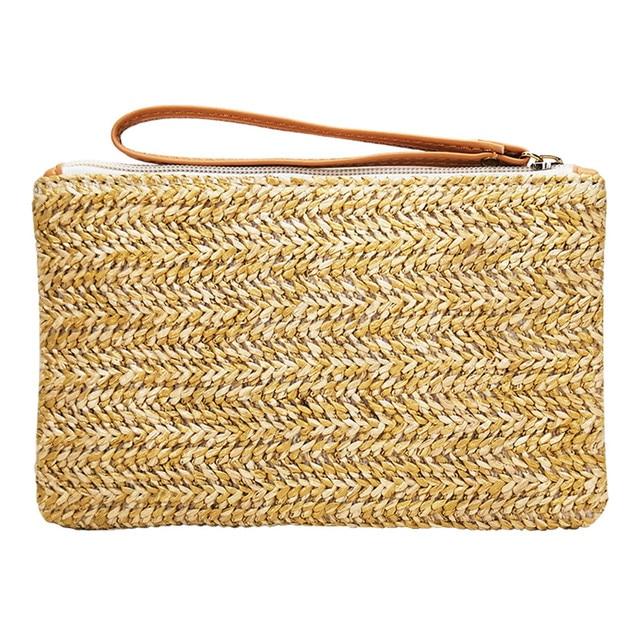 בוהמי נשים קש תיק חדש אופנה מצמד שקיות נשי תיק קש בעבודת יד תיק תירס קליפות ארוג קיץ מקרית חוף כיס