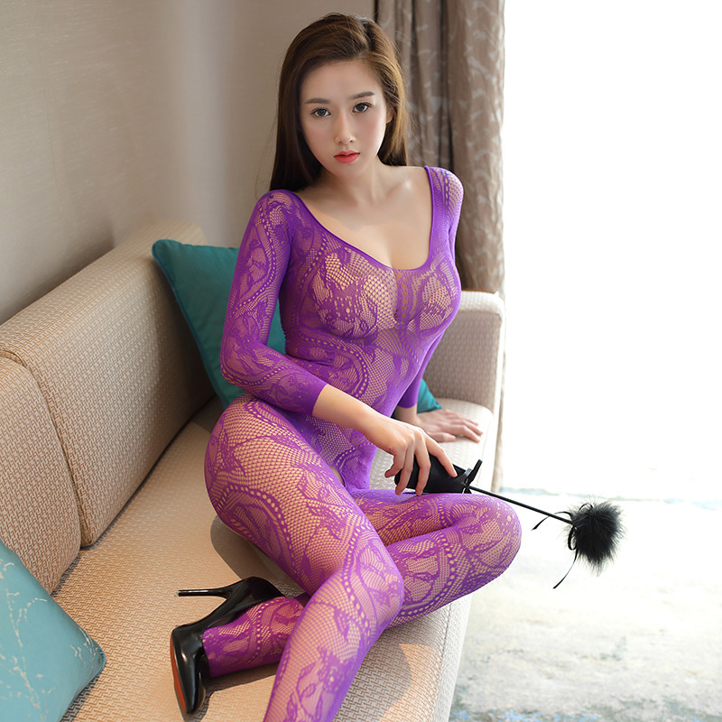 2018 <font><b>Sexy</b></font> Hot Women <font><b>Lingerie</b></font> <font><b>Bodystocking</b></font> Bodysuit Women Lenceria Open Crotch Pantyhose Long Sleeves Erotic Fishnet <font><b>Tights</b></font> image
