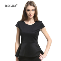 BERRY BOOM 2016 Hot Sale Women Solid Crew Neck Short Sleeve Peplum Tops T Shirt 5