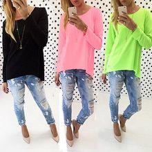 Women S Casual Loose Pullover Shirt Long Sleeve Tops Blouse Tunic Blusas Femininas