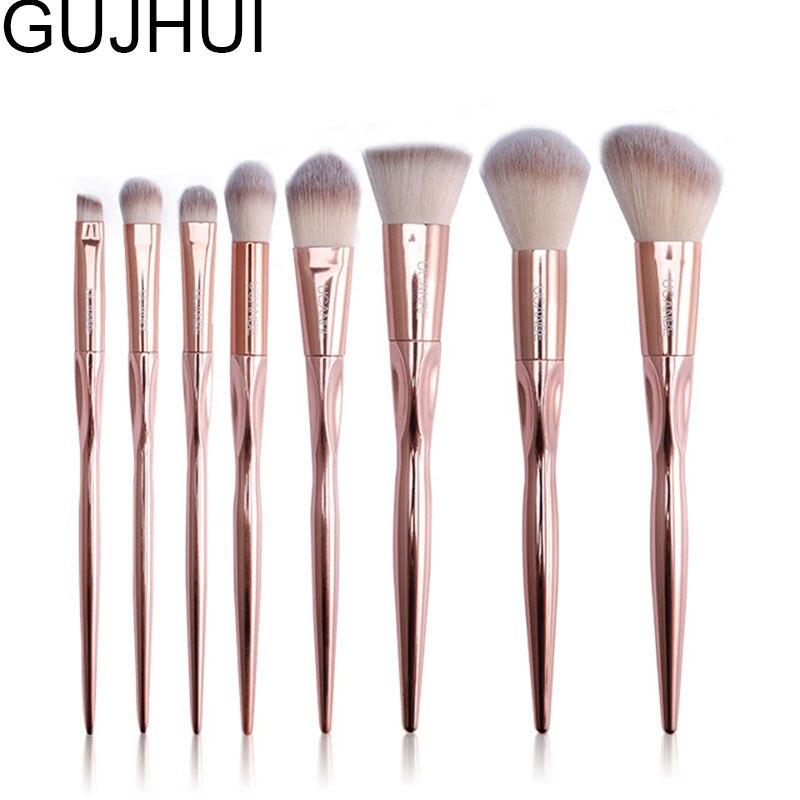 free shipping 8 Pcs Rose Golden Metallic Contour Eyeshadow Soft foundation make up brush for makeup brushes set professional bullet style cosmetic make up foundation soft brush golden white