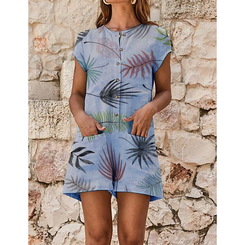 LASPERAL Summer Women Casual and Loose Leaves pattern Ladies Clubwear Shorts Playsuit Bodycon Party   Jumpsuit   and Romper Trousers