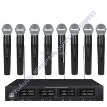 MICWL 2018H Pro UHF Cordless Wireless Karaoke Microphones System 8 Black Handheld Mics High-End
