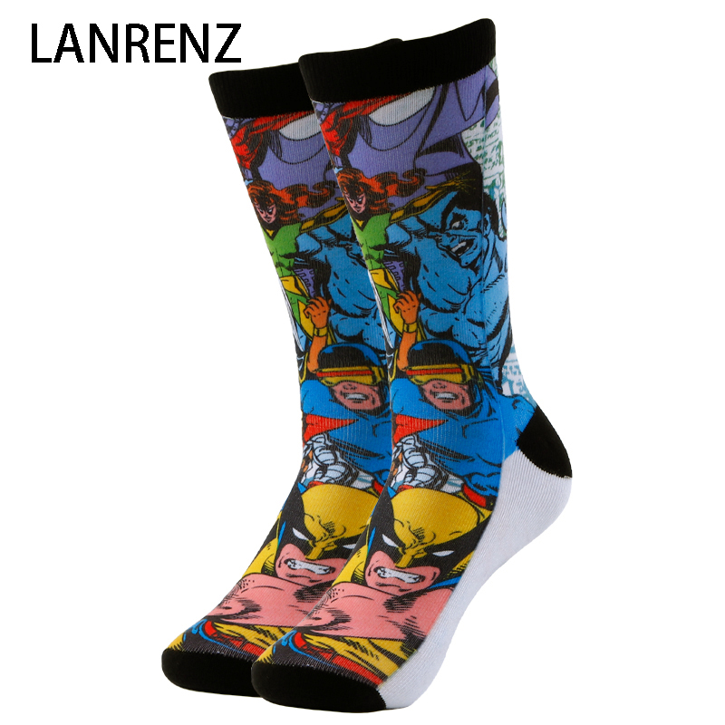 2018 super hero collection print Men and women fashion Funny socks 3d printed socks 200 knitting oil painting compression socks