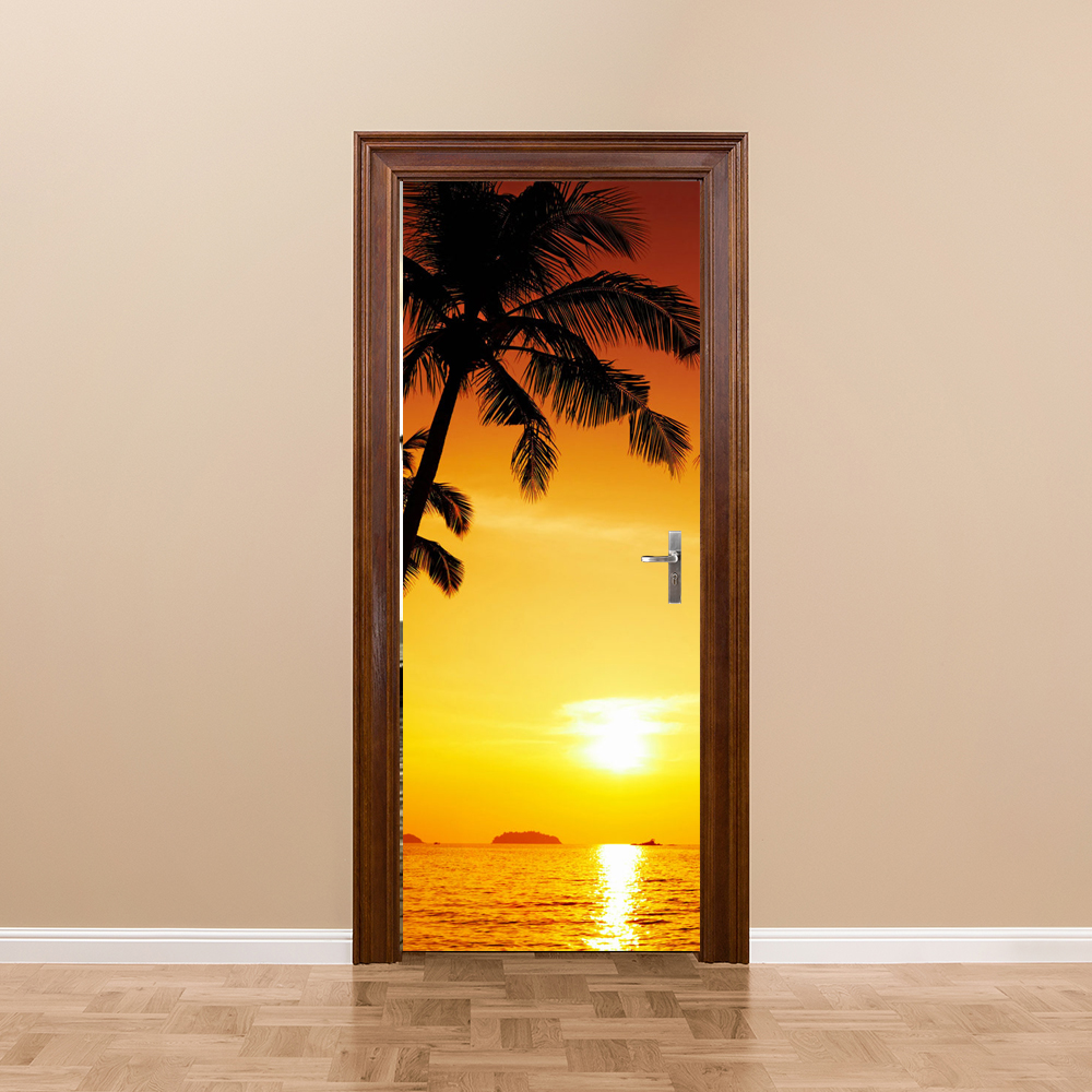 Free shipping 3D Sunset coconut tree Door Wall Stickers Bedroom Home ...